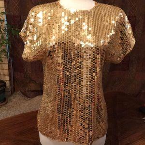 Gold sequined Valerie Stevens blouse